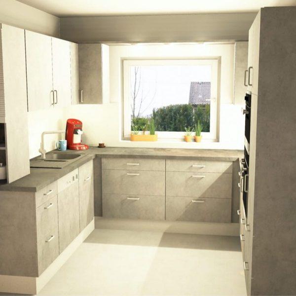 CAD-Entwurf einer raumhohen Einbauküche