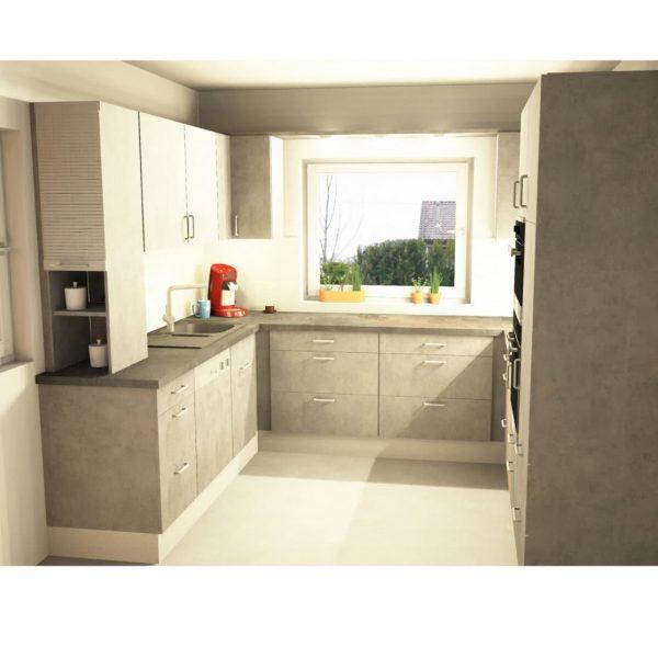 Moderne Küche mit Fronten aus Kunststoff