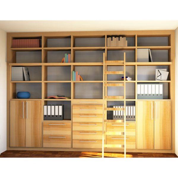Massivholzmöbel in Kernbuche – Schreibtisch, Bibliothek / Wohnwand, Massivholztisch