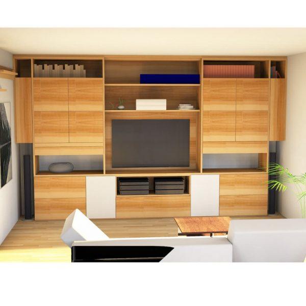 Funktionale Wohnwand aus Kernbuche mit weißen Glaselementen