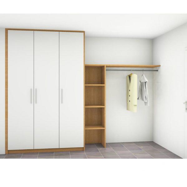 Garderobe in deckend weiß matt lackiert mit Holzakzenten in Eiche massiv stabverleimt