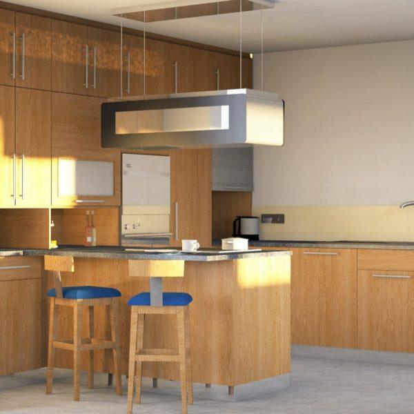 Küche in Eiche Wildholz geölt mit Granitarbeitsplatte und Glasrückwand